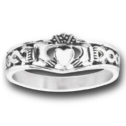 New Ladies Stainless Steel Claddagh Celtic Thin Band Ring - Size 10