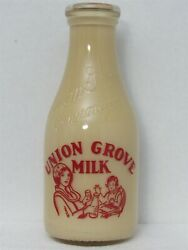 Trpq Milk Bottle Union Grove Creamery Co Chicago Il Baby And Bear Display Bottle