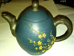 Yixing Chinese Tea Pot Ceramic Stoneware Artist Signed Stamped Cherry Blossoms