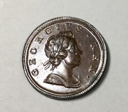 Great Britain 1717 George I Dump Half Penny Glossy Brown Pleasing Choice Coin