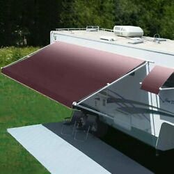 Freedom 11 Rv Patio Awning.5and039w X 8.2and039ext. Vinyl Fade Burgundy Manual Rv Patio