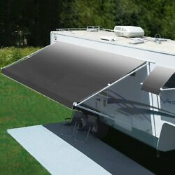 Freedom 13 Rv Patio Awning.1and039w X 8.2and039ext. Vinyl Fade Silver Manual Rv Patio