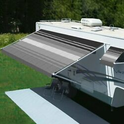 Rv Patio Awning Freedom 9.8and039w X 8.2and039ext. Vinyl Striped Black/gray Manual Rv