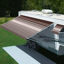 Freedom 11 Rv Patio Awning.5and039w X 8.2and039ext. Vinyl Striped Sierra Brown Manual Rv