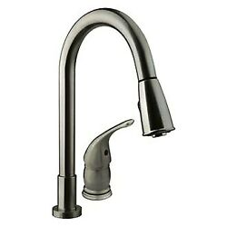 Dura Brass Satin Nickel Pull-down Kitchen Faucet W Side Lever Handle