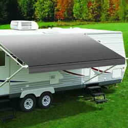 Fiesta 18 Rv Patio Awningand039w X 8and039ext. Vinyl Fade Silver Manual Rv Patio Awning W