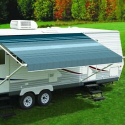 Rv Awning Fabric 16and039w X 8and039ext. Vinyl Striped Teal One-piece Patio Replacement Rv