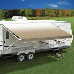 Rv Awning Fabric 21and039w X 8and039ext. Vinyl Fade Camel One-piece Patio Replacement Rv