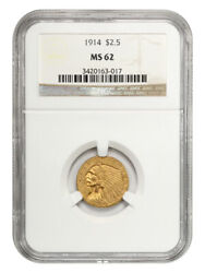 1914 2 1/2 Ngc Ms62 - Better Date - 2.50 Indian Gold Coin - Better Date