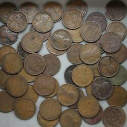 1915 Lincoln Wheat Cent Roll 50 Circulated Pennies Us Coins