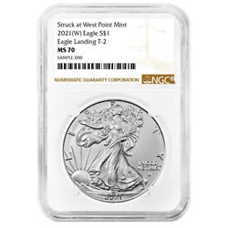 2021 W 1 Type 2 American Silver Eagle Ngc Ms70 Brown Label