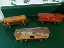 Lionel Pre War 1679 Baby Ruth Box Car, 1660 Shell Tanker And 1682 Caboose