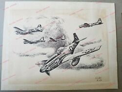 Ww2 Charles Knotek Signed Limited Edition Drawing/etch 9/150 P-51 Mustang B-17