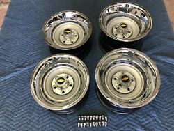 1971-87 Chevy C10 Truck 5 On 5 15x10 And 15x8 Gm Original Truck Rallyscaps Rings