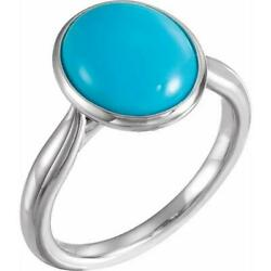 Platinum 12 X 10 Mm Oval Turquoise Ring
