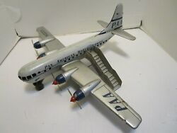 Vintage Gama W. Germany Tin Friction And Batt. Op. Pan Am Airplane W/staircase