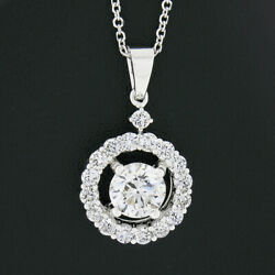 14k White Gold Gia Certified 1.6ct Round Diamond Halo Solitaire Pendant Necklace