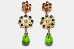 Deanna Hamro 1980's Long Gold Plated Green Red Blue Poured Glass Earrings