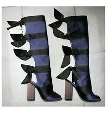 Marco De Vincenzo Satin Striped Bow Backed Boot Black/ Navy Sz Us 6/it 37 1200