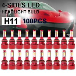 100pair Whosesale 4-side H11 H9led Headlight Kit Replacement Bulb 6000k White