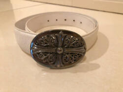 Chrome Hearts Authentic Classic Oval Cross Buckle Belt Leather Accessories