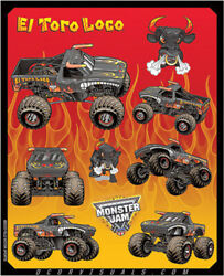 Dcor 40-90-207 Monster Jam Decal Sheets Graphic - Style El Toro Loco Red
