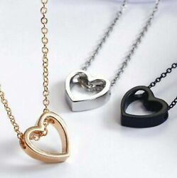 Fashion Women Heart Pendant Charm Necklace Jewelry W/ 19 Stainless Steel Chain