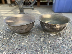 Lot Of 2 Vintage Silver Plated 1967 And 1970 Nra Nira Pistol Team Trophy Bowls
