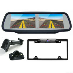 Rear View Mirror Monitor With Dual Screen 4.3 2x Front / Side / Backup Camera