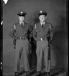 Lot Of 3 Negative Large Format Military/air Police Soldiers, Japan, 1945, Wwii