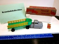 Vtg Wyandotte Toys Plastic All Purpose Stake Truck And Trailer 9 W/ Box 4 Parts