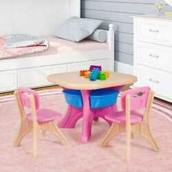 3 Piece Plastic Children Play Table And Chair Set Storage Drawers Gifts For Kids