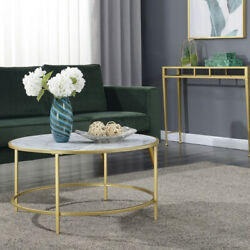 White Faux Marble Gold Coast Faux Marble Round Coffee Table
