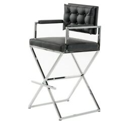 Saltoro Sherpi Leatherette Button Tufted Back Bar Stool With X Shaped Metal