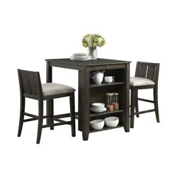 Saltoro Sherpi Wooden 3 Piece Counter Set With Usb Plugin And Panel Back Chair,