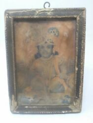 Collectible Old Religious Lithograph Print Of Hindu Lord Krishna Framed 7 X 5