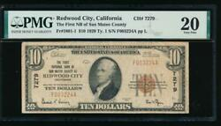 Ac 1929 10 Fnb Of San Mateo County At Redwood City California Ch 7279 Pmg 20