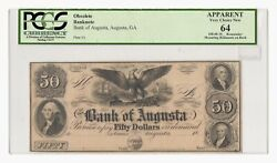 Remainder 18__ 50 Bank Of Augusta, Georgia Obsolete Bank Note, Pcgs 64 Apparent