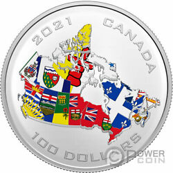 Canada Provincial And Territorial Flags 10 Oz Silver Coin 100 Canada 2021