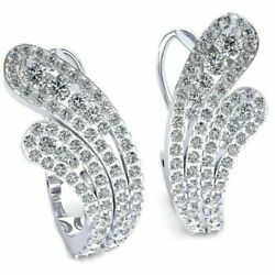 2.75ctw Genuine Round Cut Diamond Ladies Lever Back Earrings Solid 14k Gold