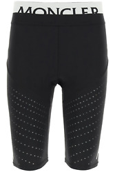 New Moncler Basic Bike Shorts With Logo 8h744 10 899a6 Black Authentic Nwt