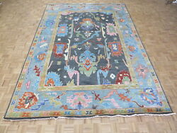 9and0399 X 13and03911 Hand Knotted Charcoal Black Colorful Oushak Oriental Rug G10525