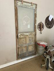Entry Door With Etched Glass Antique Wood Carving Hardware Pantry Farmhouse Old