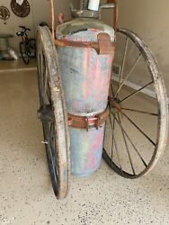 Antique Ajax Chemical Fire Extinguisher Heavy Metal Tank With Large Wheels/brass