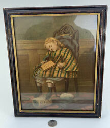Antique Religious 19th Century Original Oil Painting Of A Child Sleep W/bible 👀