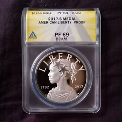 2017-s American Liberty 225th 1oz Silver Proof Medal Anacs Pf69 Dcam
