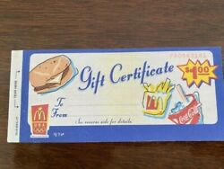 Mcdonalds Collectible 1997 Gift Certificate Book Of 5. Rare And Hard To Find