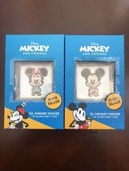 Chibiandtrade Mickey And Minnie Mouse 1oz Silver Coins Limited Edition Ships Free