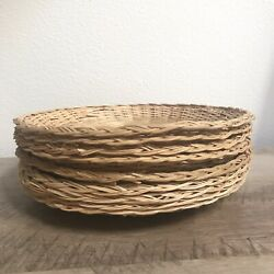 Vintage Paper Plate Holders Wicker Bamboo Rattan Lot Of 9 Retro Picnic Brown