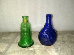 Vintage Wheaton Miniature Glass Bottle Lot Of 2 Green Liberty Bell And Jenny Lind